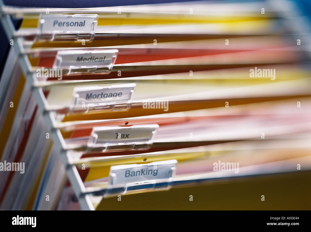 files organised documents finance filing system filed bills home office debt organized paperwork - Stock Image