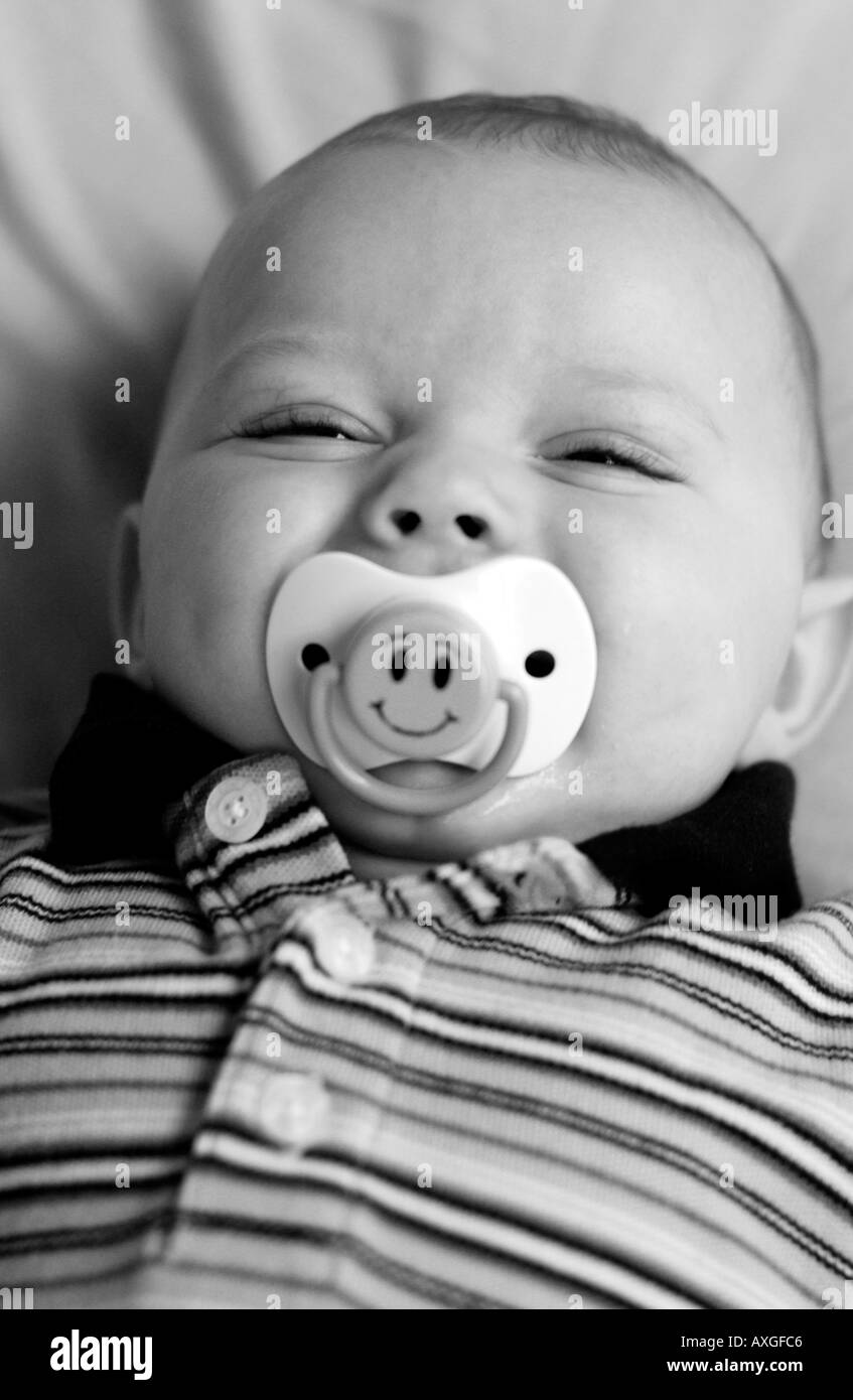 happy baby with pacifier stock photo 3116997 alamy