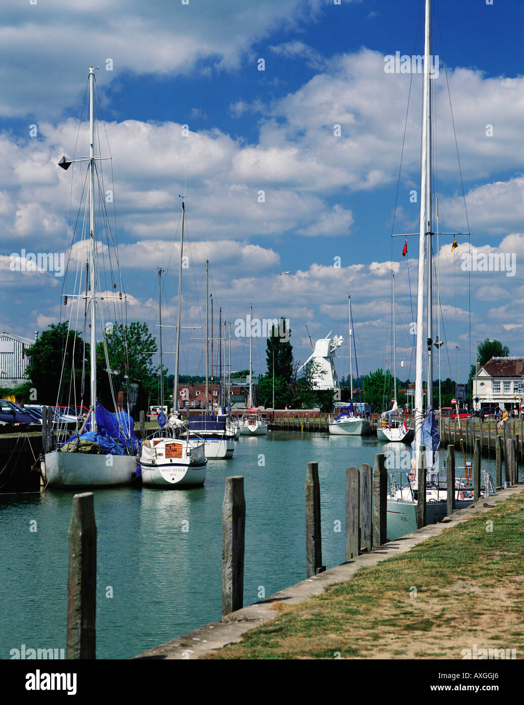 Quayside Moorings and Windmill Rye East Sussex England GB - Stock Image