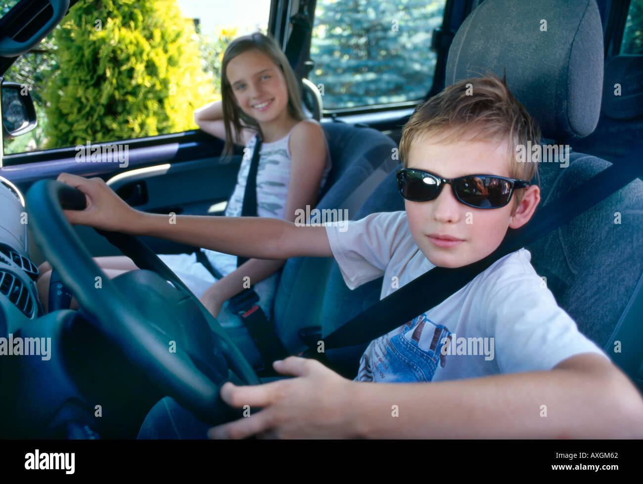 Indoor Car Day Girl Teenager Brunette Long Hair Child Boy Blonde Sister  Brother 10 15 5 10 Sunglasses Dark Seat Belt Seat Bel