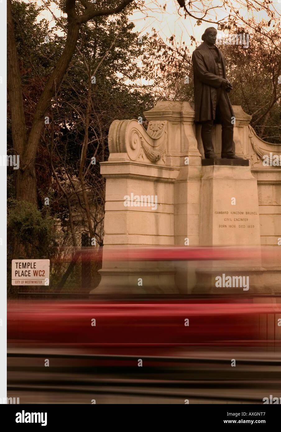 Isambard Kingdom Brunel statue on the embankment London UK - Stock Image
