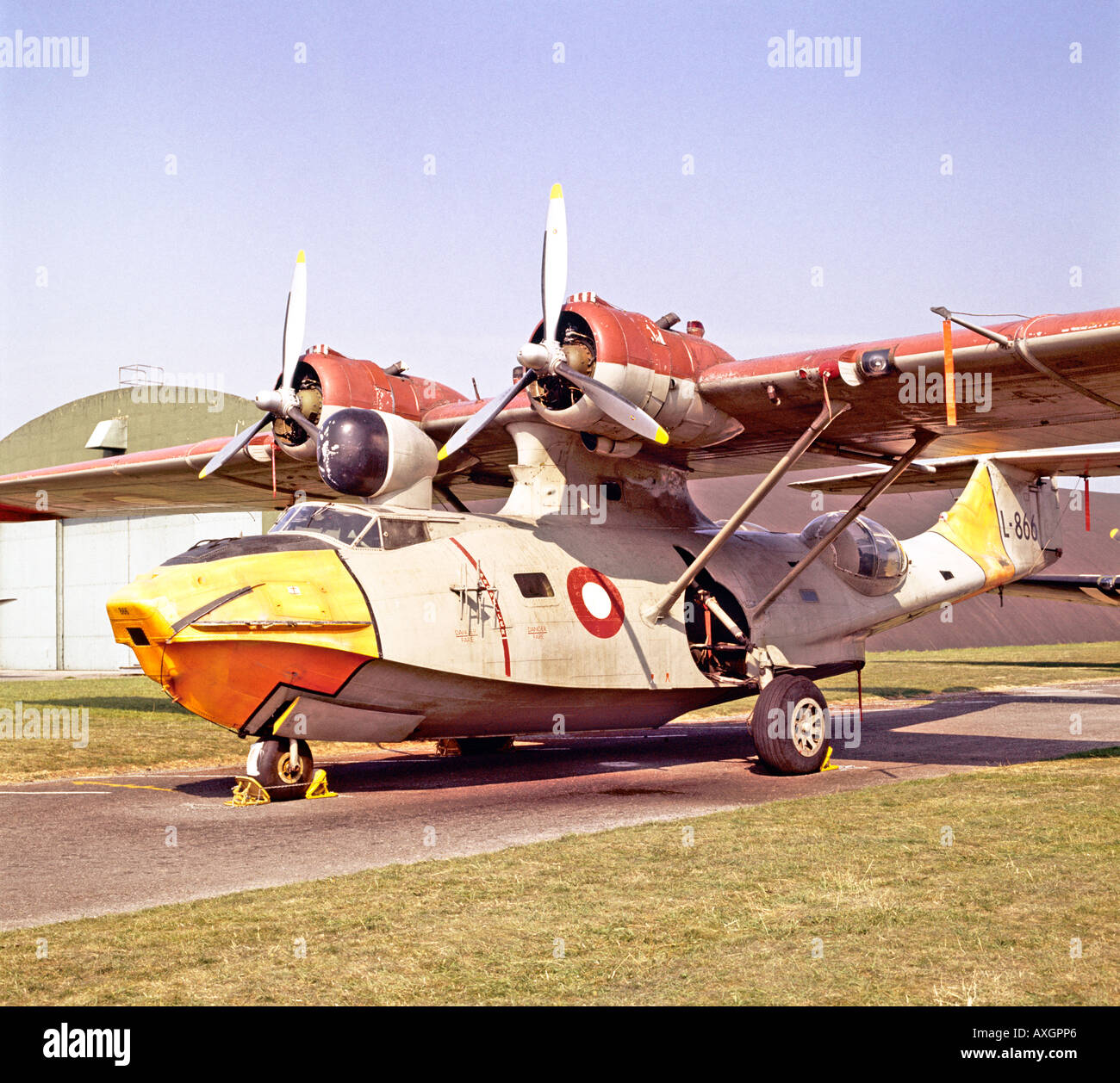 Consolidated Catalina flying boat from World War II WWII - Stock Image