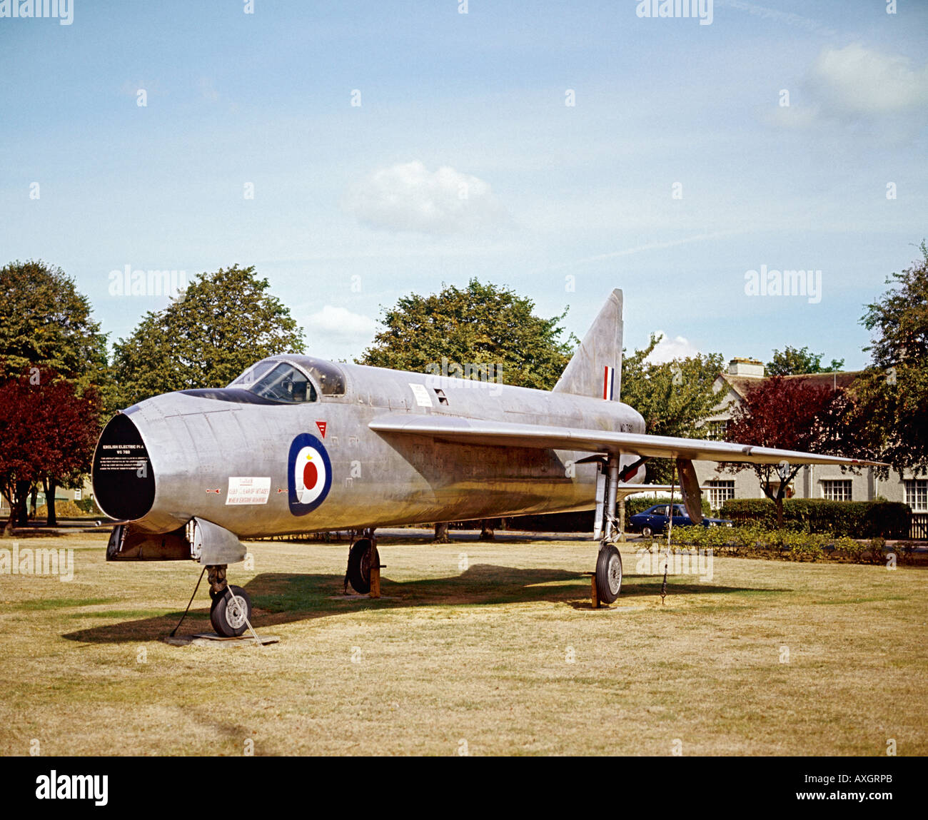 English Electric Lightning P1A prototype WG760 retired and on display at RAF Henlow UK - Stock Image