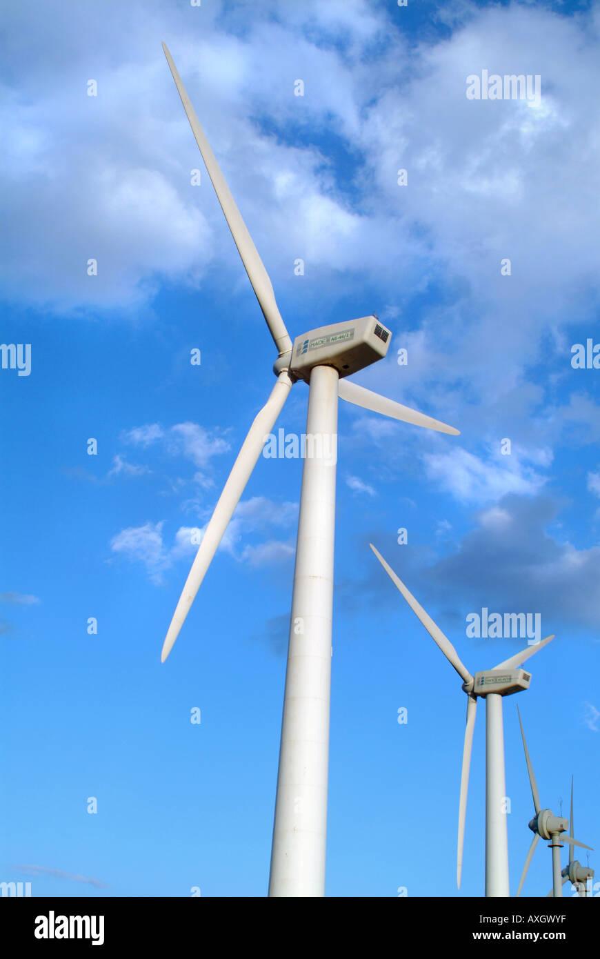 windmills on the canary islands Windräder bzw Windkraftanlagen auf teneriffa - Stock Image