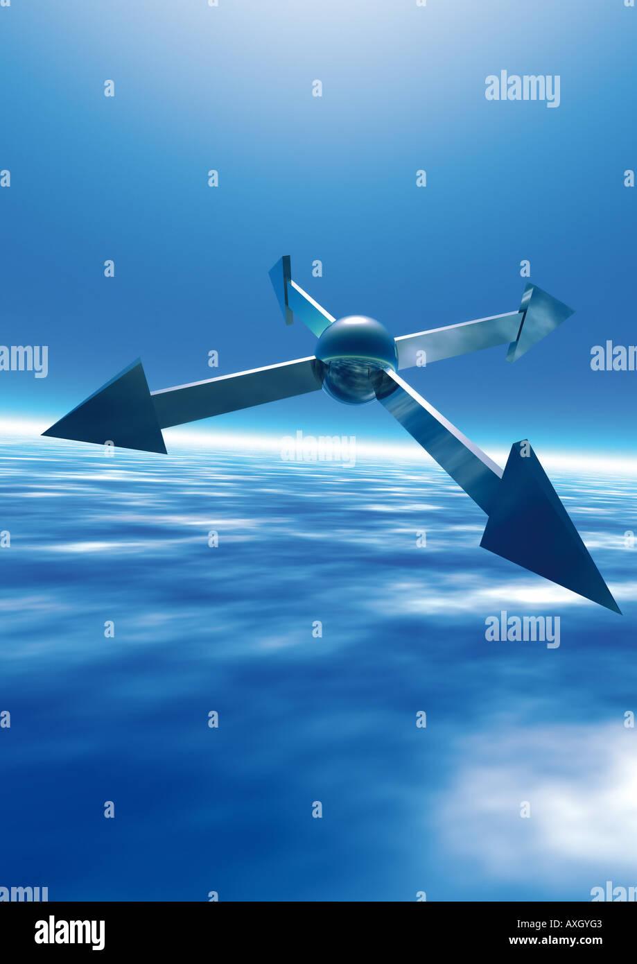 Arrows in 4 directions Pfeile in 4 Himmelsrichtungen Stock Photo