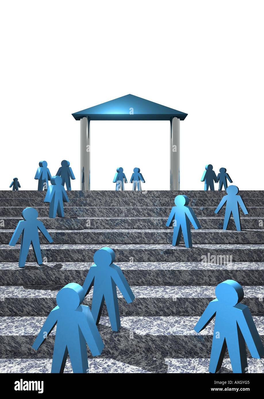 Gebäude und Personen auf Treppe People on stairways in front of a building - Stock Image