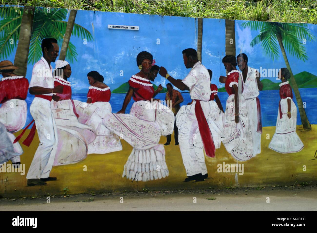 British Virgin islands Tortola Roadside mural - Stock Image