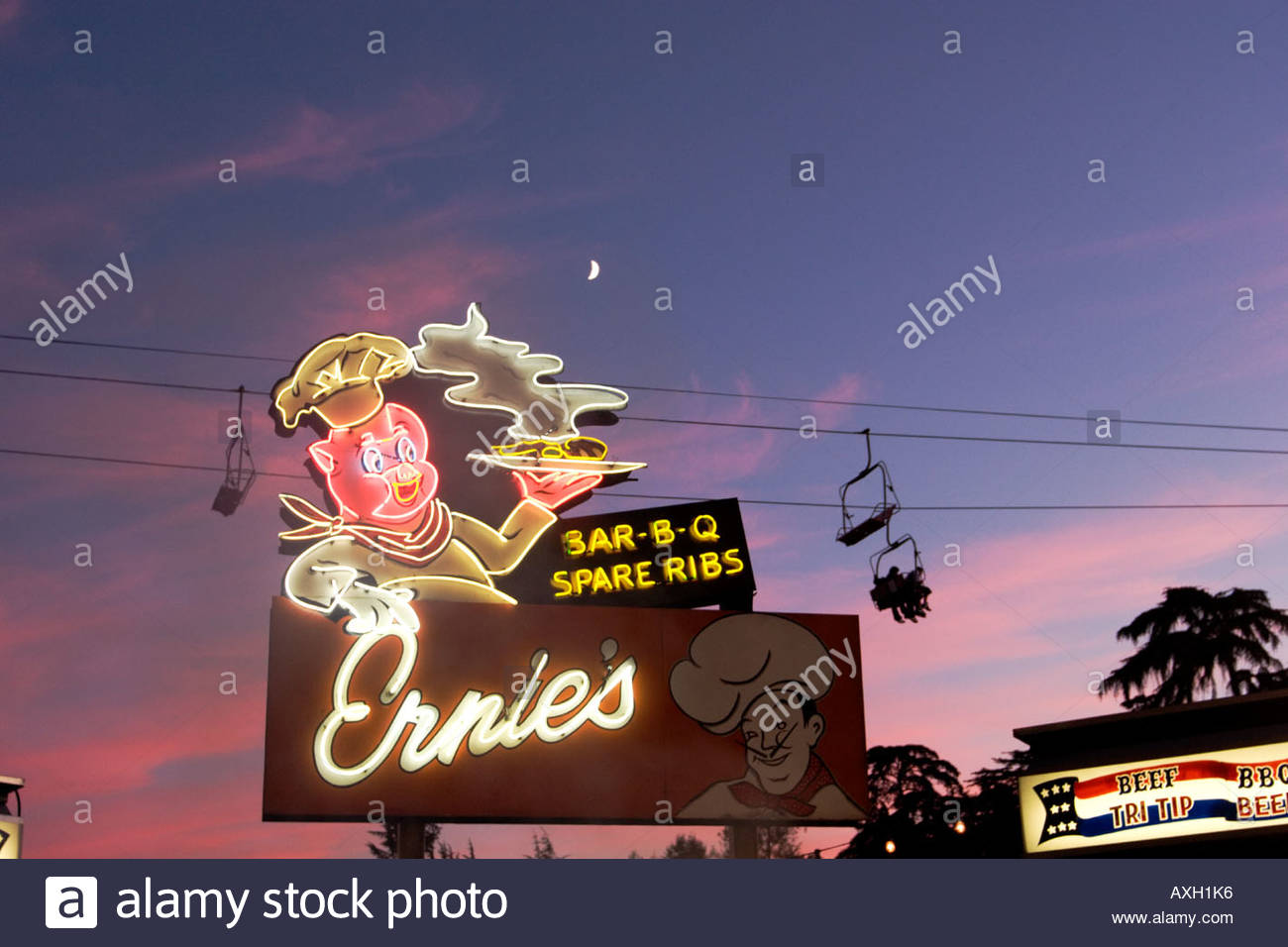 Ernies Barbeque Spare Ribs Shack Neon Sign at the L A County Fair Pomona California - Stock Image