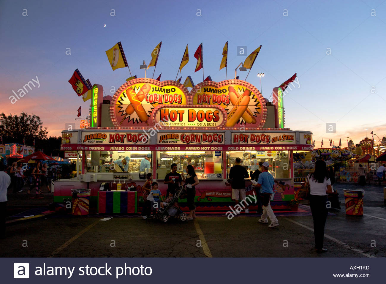 Hot Dog Stand at the Los Angeles County Fair Pomona California - Stock Image