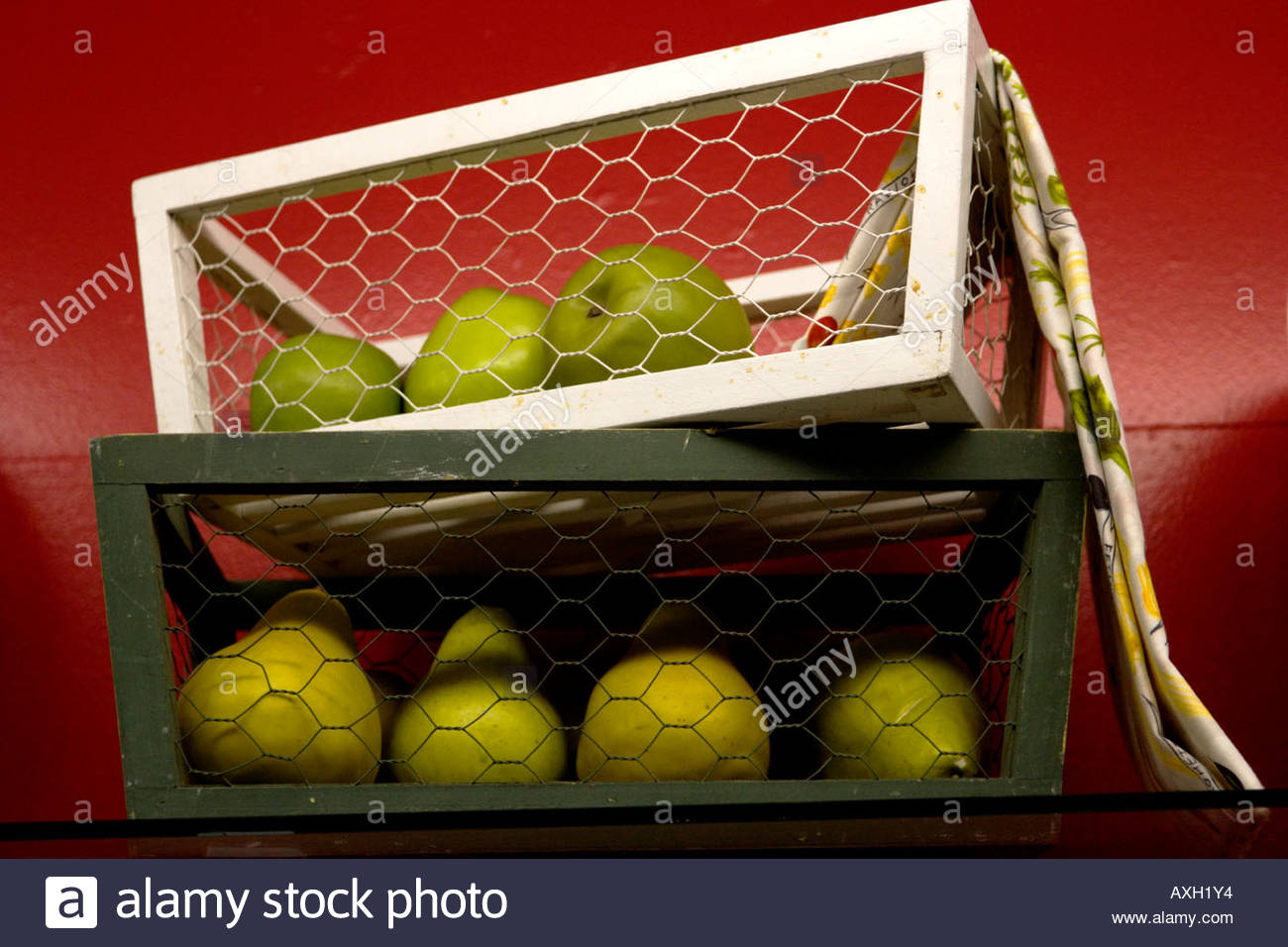 Pear Basket on Shelf at the Los Angeles County Fair California - Stock Image