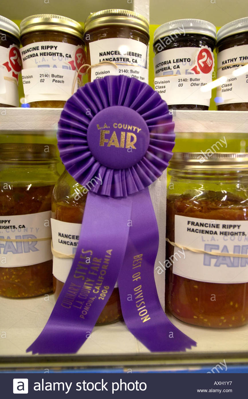 Award Winning Canned Goods at the 2006 Los Angeles County Fair Pomona California - Stock Image