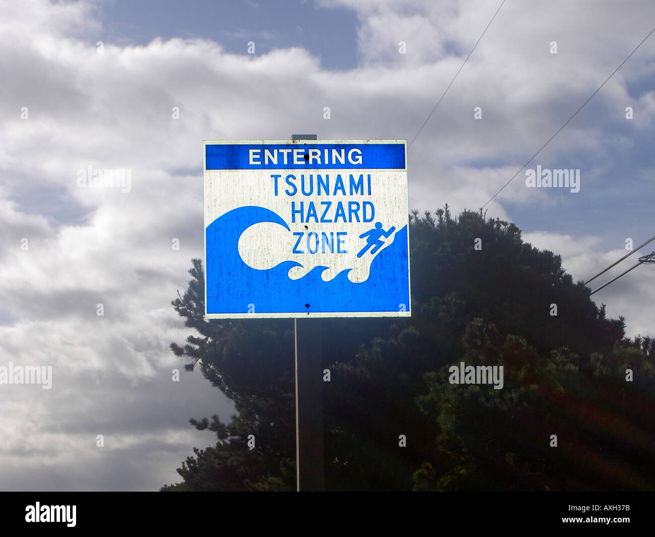 Tsunami warning signs along U S Highway 101 on the Oregon