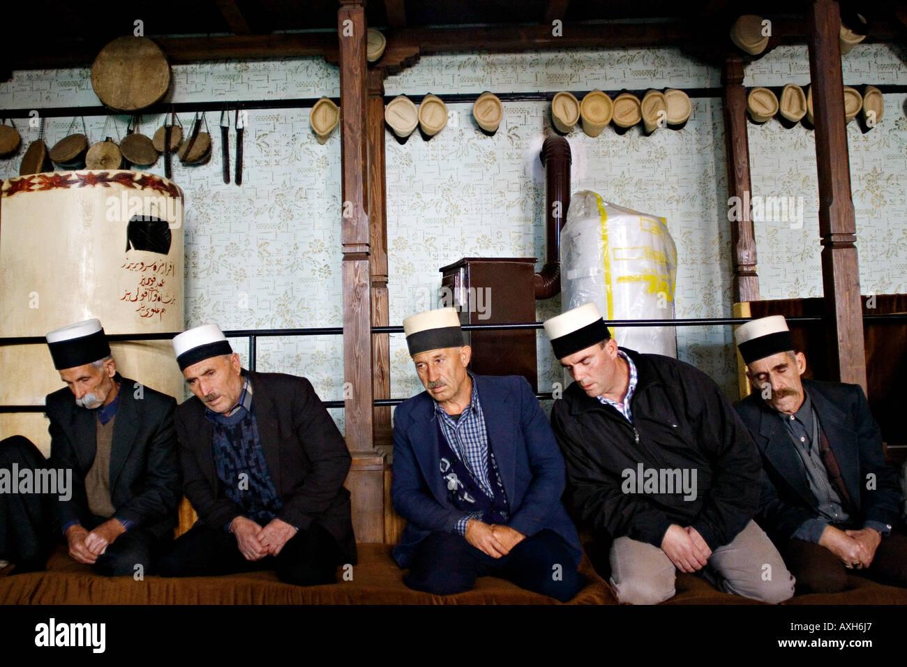 Religious ceremony in Rifai dervish lodge in Prizren Kosovo - Stock Image
