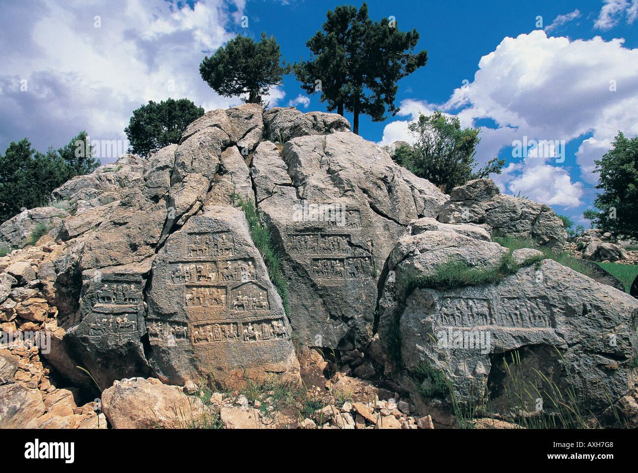 Rock reliefs from Arzawa Kingdom enemy of Hittites Cavdir Isparta Turkey - Stock Image