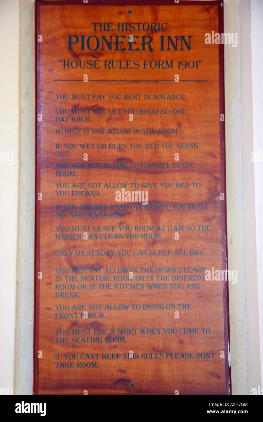 ORIGINAL RULES OF THE PIONEER INN, BUILT IN 1901  IT IS A