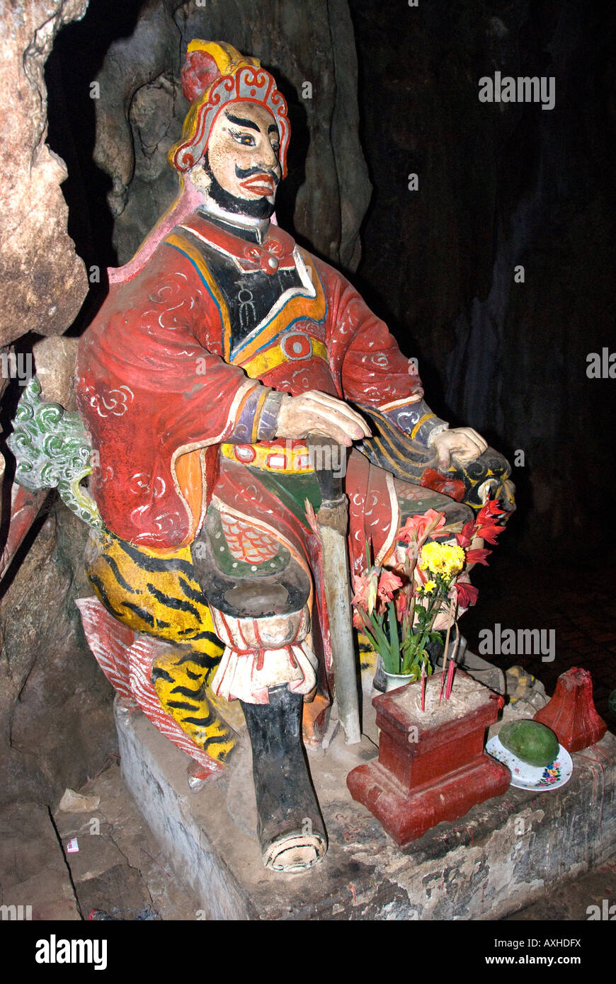 Hindu god guarding the entrance to a cave in Thuy Son Mountain, Marble Mountains, Danang, Vietnam - Stock Image