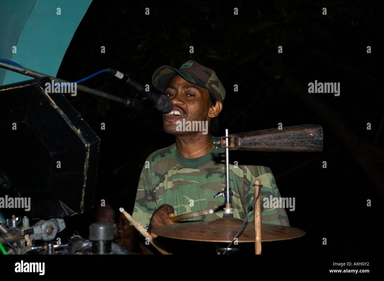 Tanzania Dar es Salaam band playing at a nightclub Stock