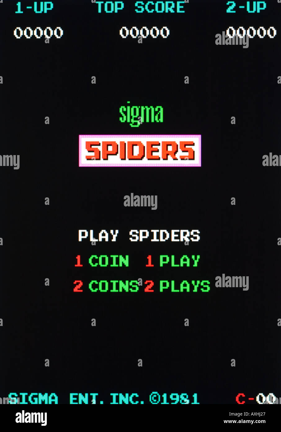 Spiders Sigman Ent Inc 1981 Vintage arcade videogame screen shot - EDITORIAL USE ONLY - Stock Image