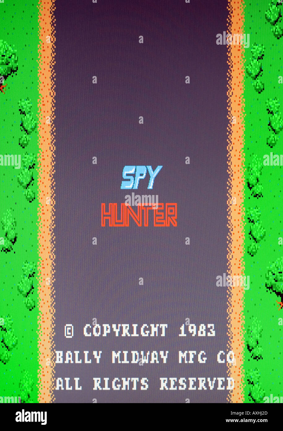 Spy Hunter Bally Midway Mfg Inc 1983 Vintage arcade videogame screen shot - EDITORIAL USE ONLY - Stock Image