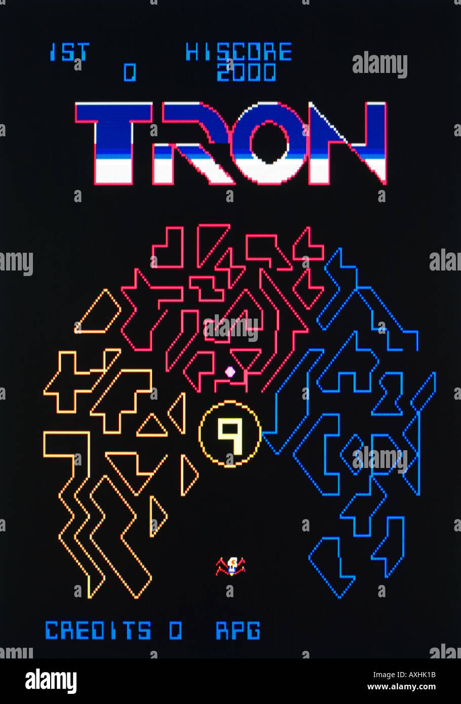 Tron Bally Midway Mfg Co Walt Disney Productions 1983 Vintage arcade videogame screen shot - EDITORIAL USE ONLY - Stock Image