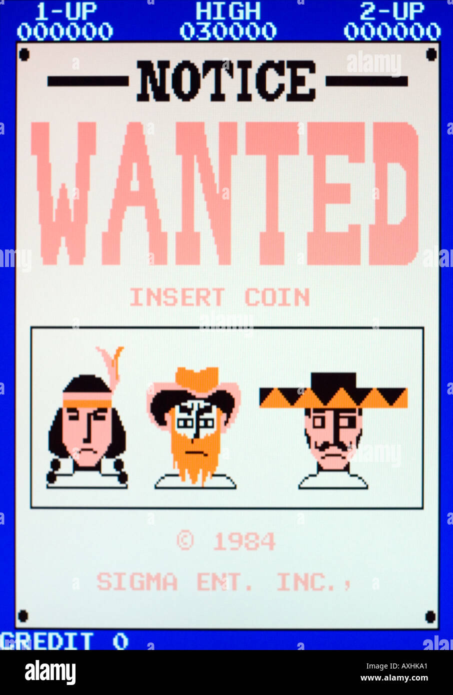 Wanted Sigma Ent Inc 1984 Vintage arcade videogame screen shot - EDITORIAL USE ONLY - Stock Image