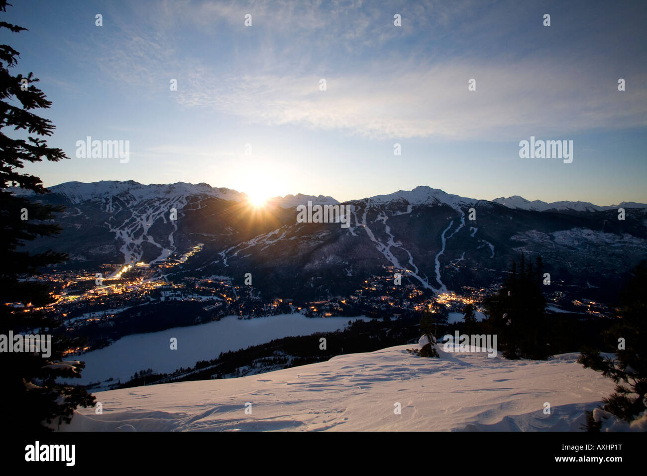 Whistler Village at sunrise with Blackcomb and Whislter mountain beyond British Columbia Canada Stock Photo