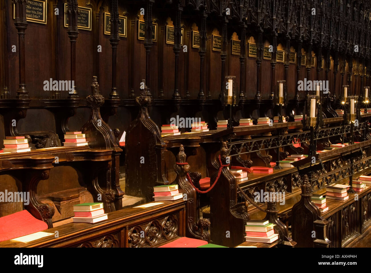 Choir stalls, inside Lincoln Cathedral, UK - Stock Image