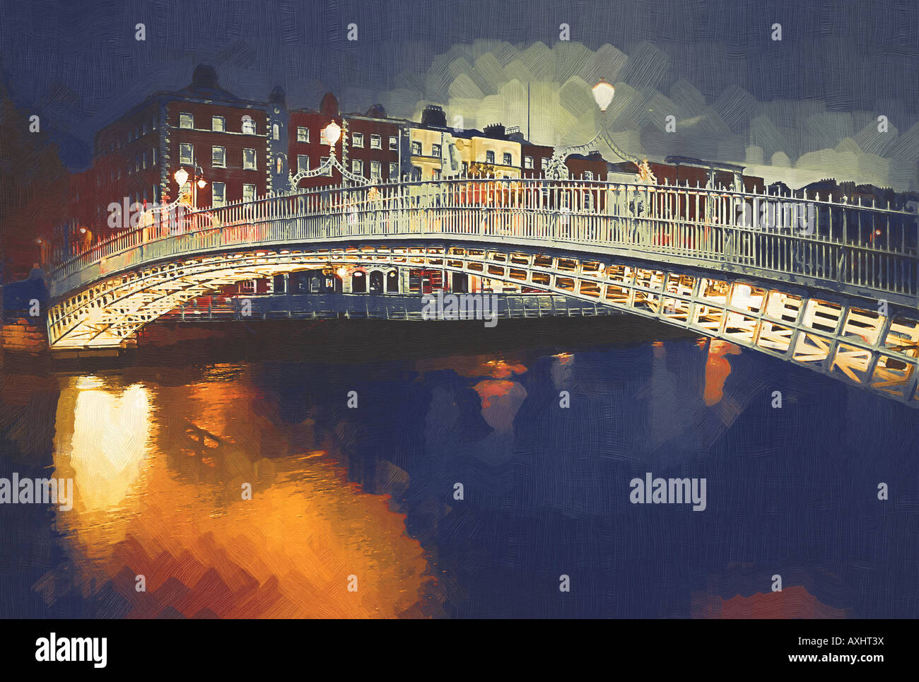 digital painting from photo of well known dublin landmark at twilight - Stock Image