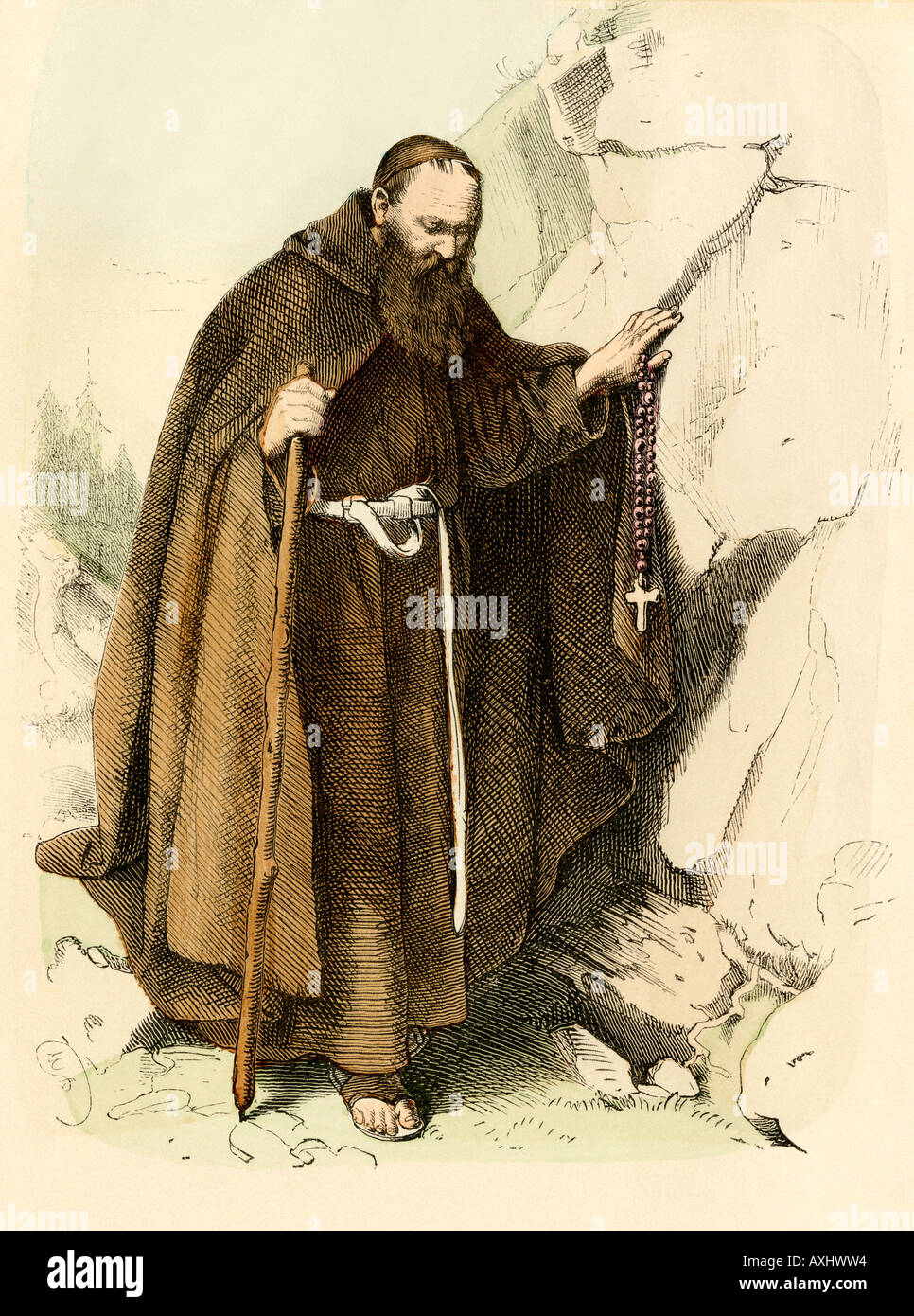 Medieval hermit monk. Hand-colored print - Stock Image