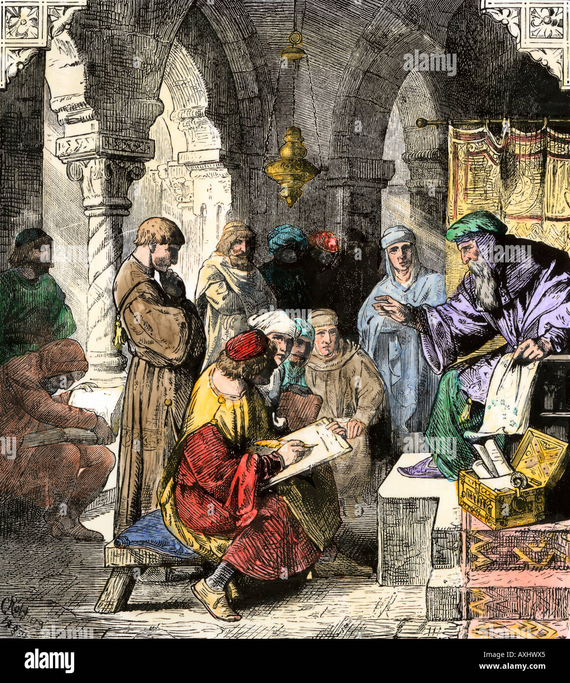 Alchemy and astrology plus math and science taught by Arab scholars in medieval schools. Hand-colored woodcut - Stock Image
