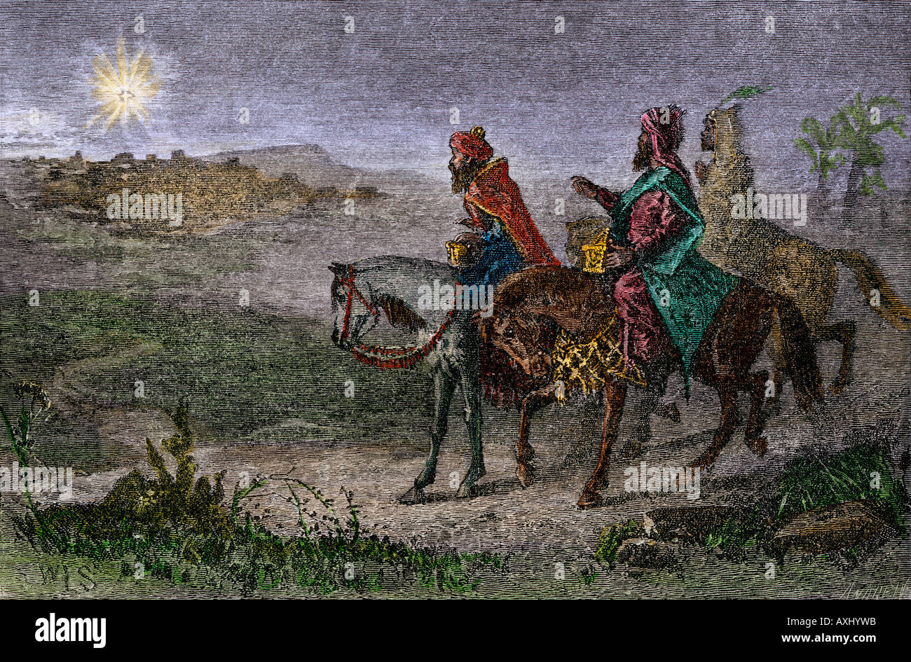 Three kings following the star to Bethlehem birthplace of Jesus. Hand-colored woodcut - Stock Image