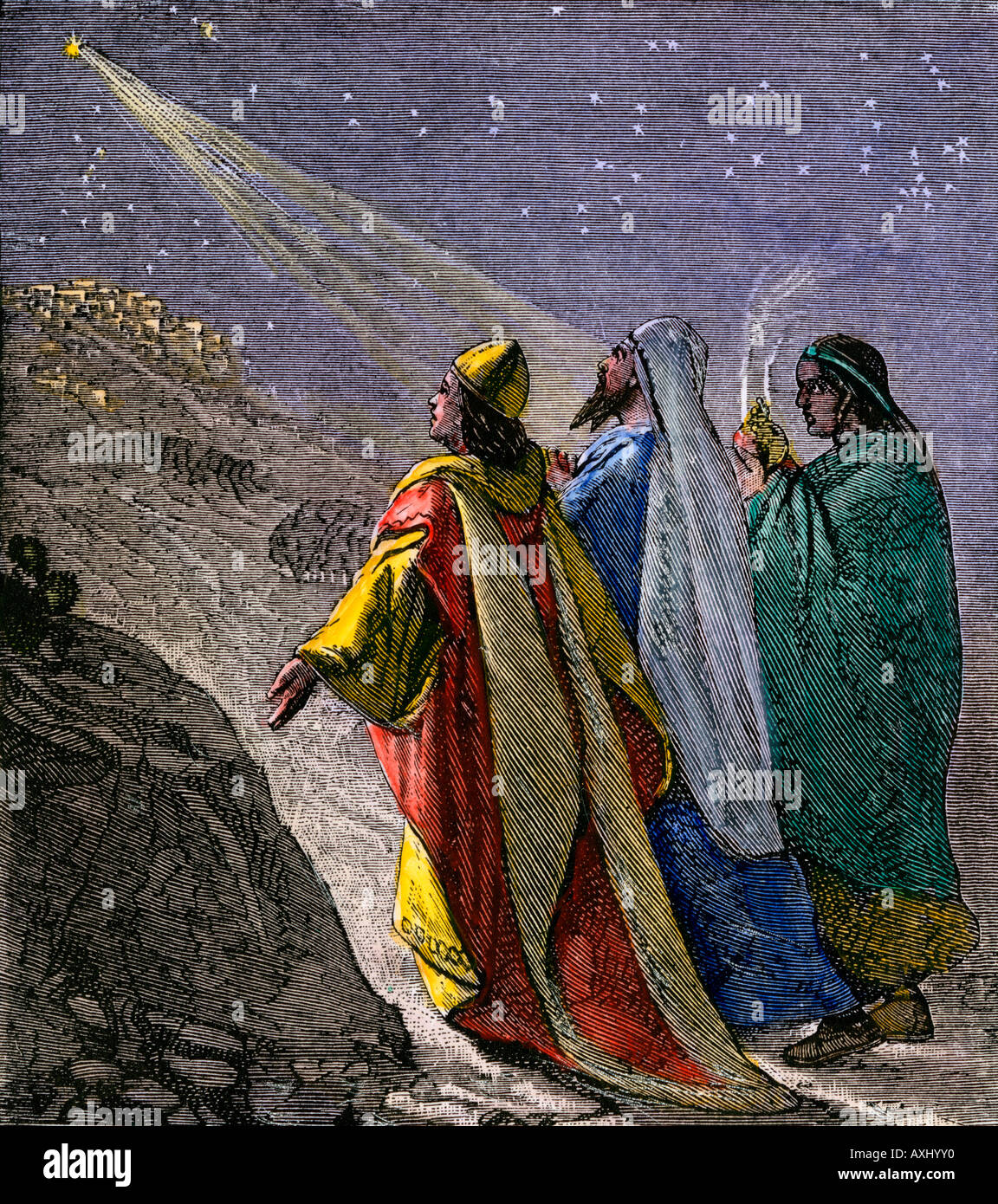 Three kings following the star to worship the baby Jesus. Hand-colored woodcut - Stock Image