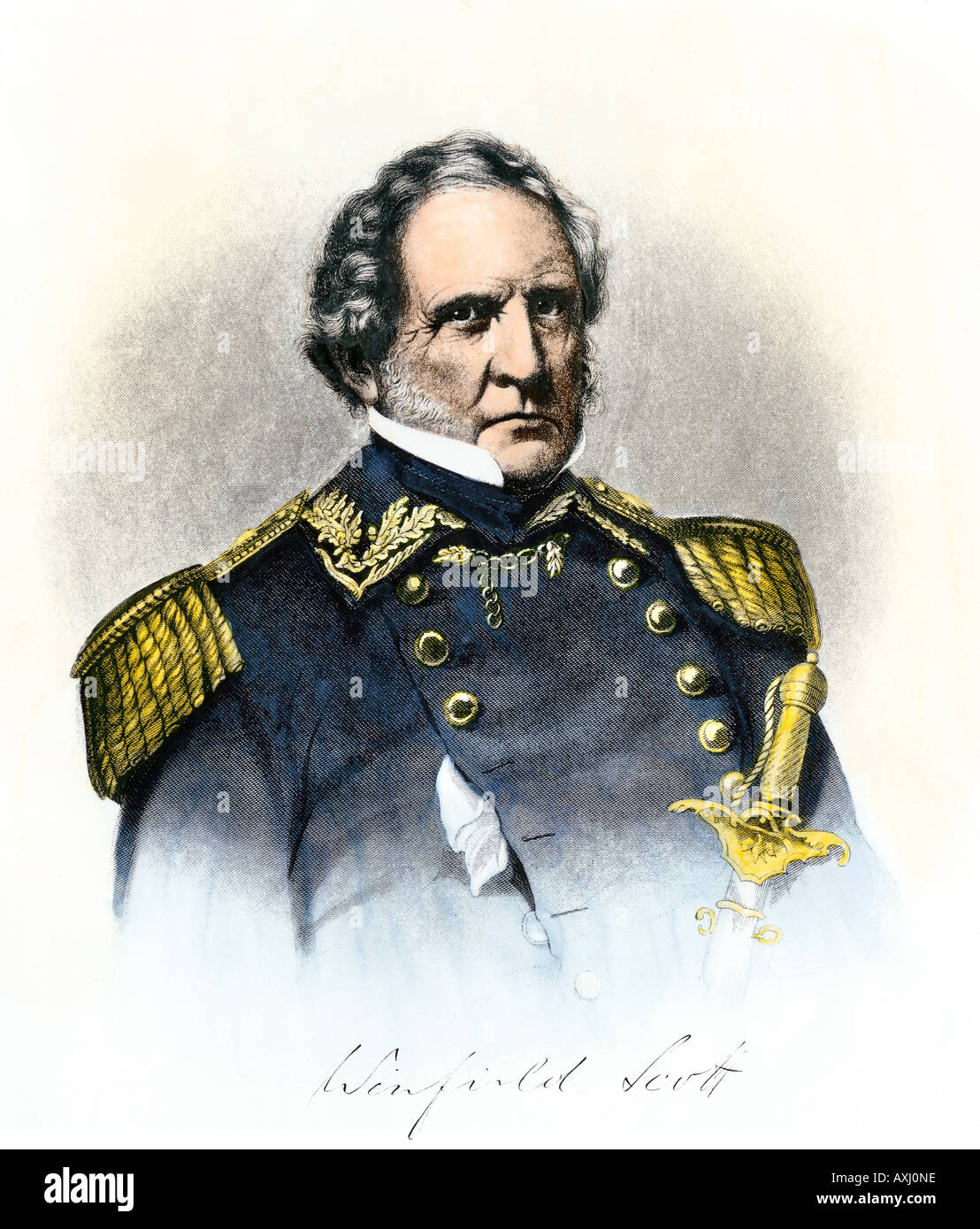 General Winfield Scott portrait with signature. Hand-colored steel engraving - Stock Image