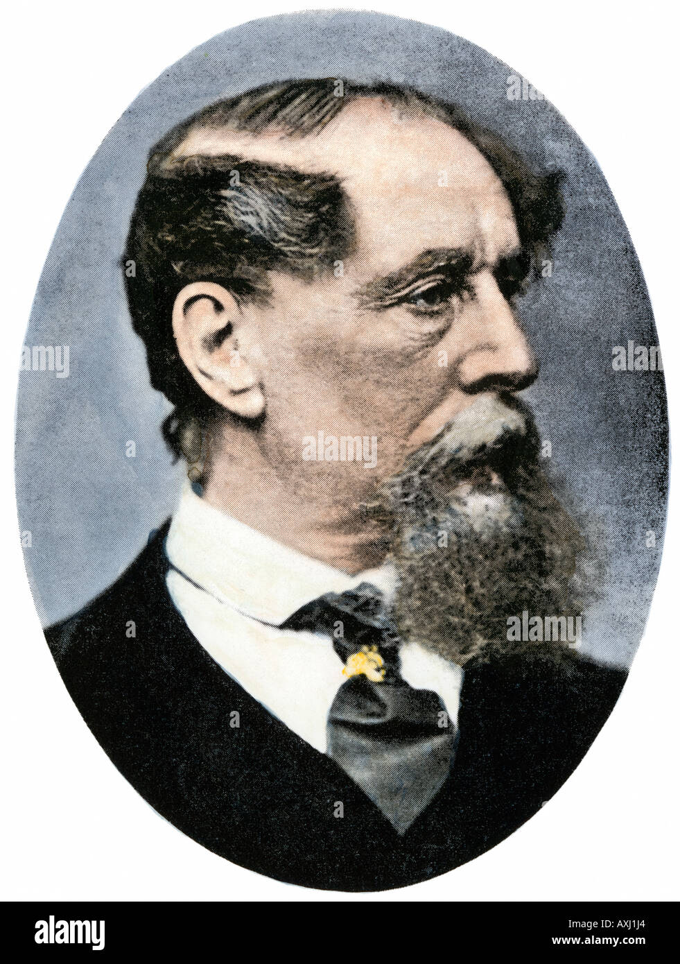 Charles Dickens. Hand-colored halftone of a photograph - Stock Image