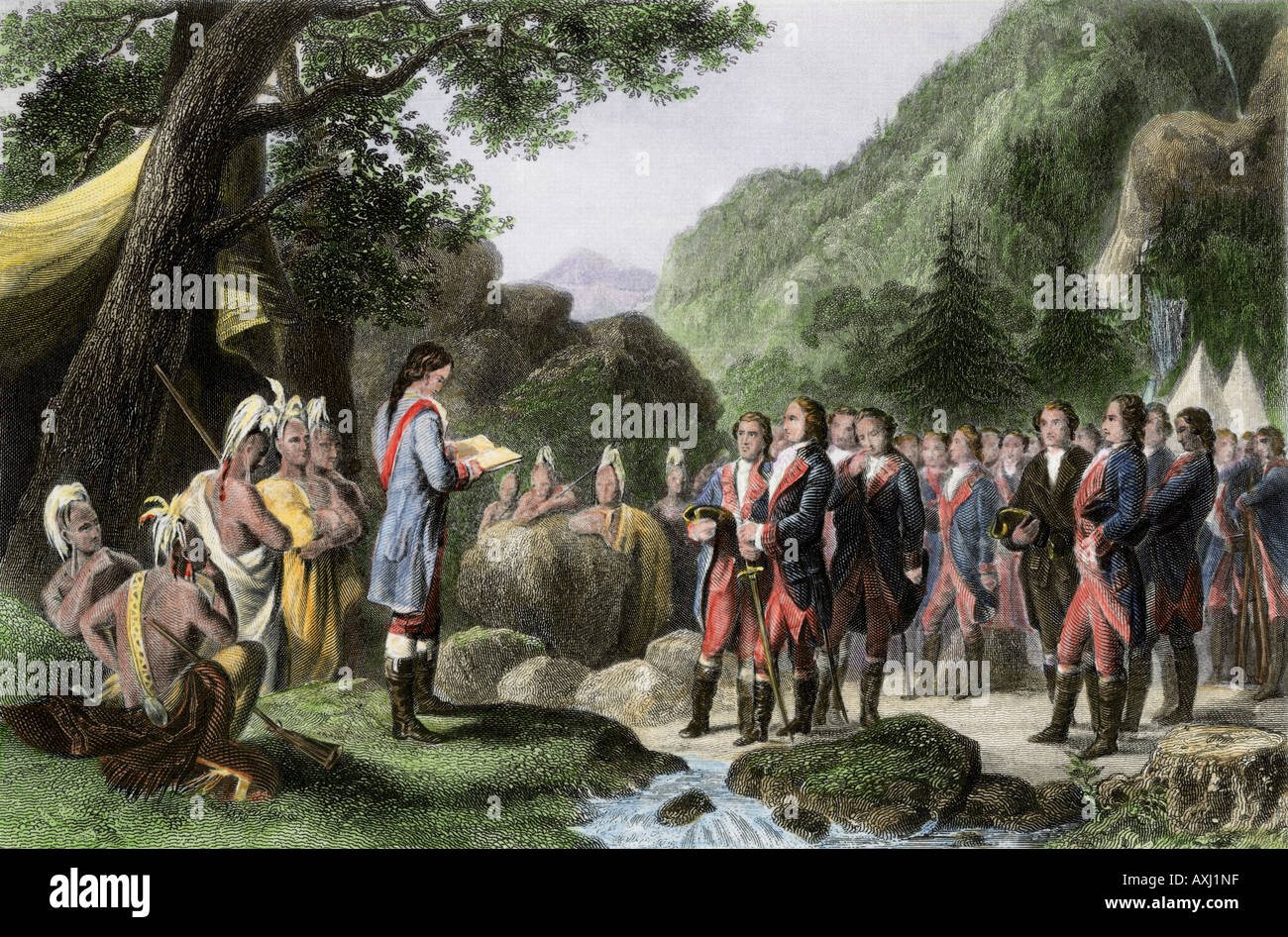 Militia officer George Washington reading prayers in camp during the French and Indian War. Hand-colored steel engraving - Stock Image