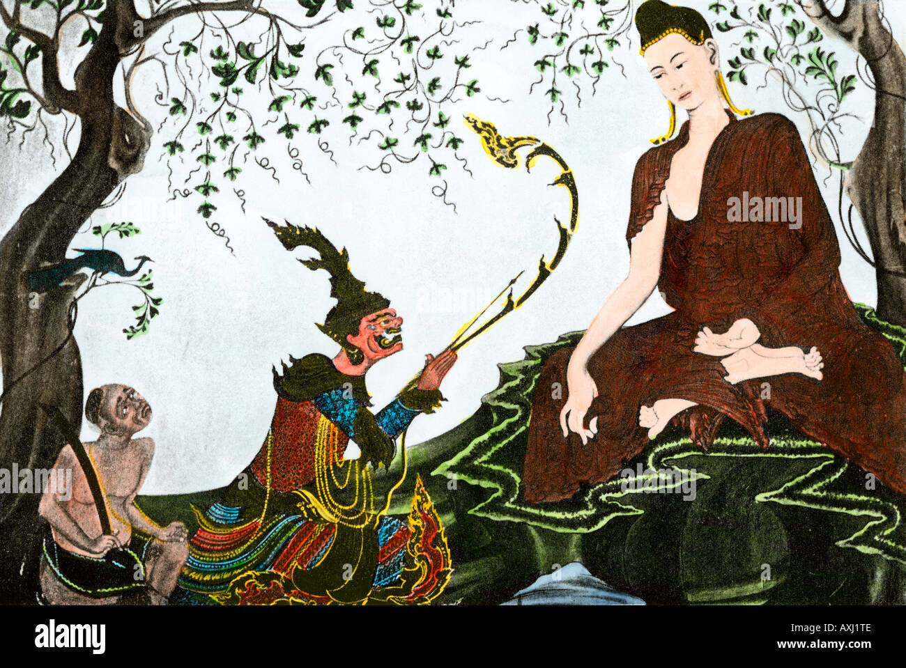 Siddhartha Gautama the founder of Buddhism. Hand-colored woodcut - Stock Image