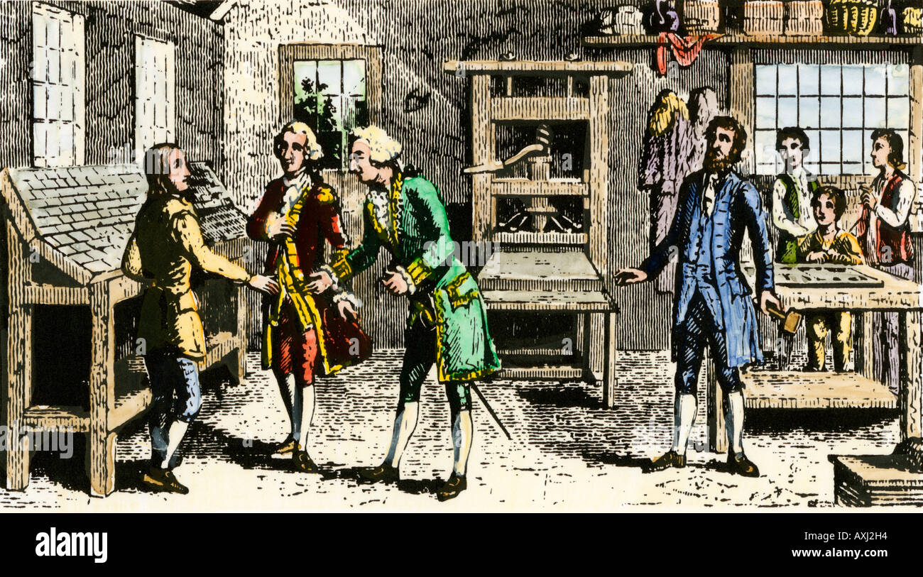 Young Ben Franklin in a Philadelphia printing shop told to go to England by Pennsylvania Governor Keith. Hand-colored woodcut - Stock Image