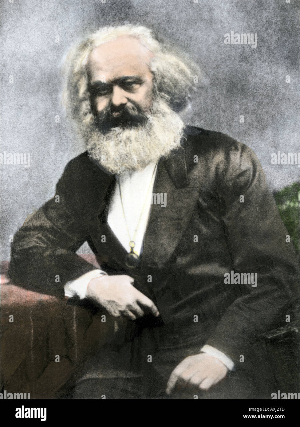 Karl Marx. Hand-colored halftone of a photograph - Stock Image