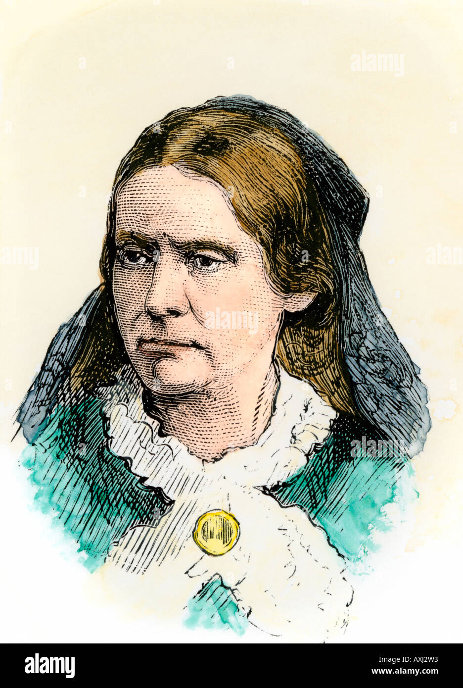 Susan B Anthony. Hand-colored woodcut - Stock Image