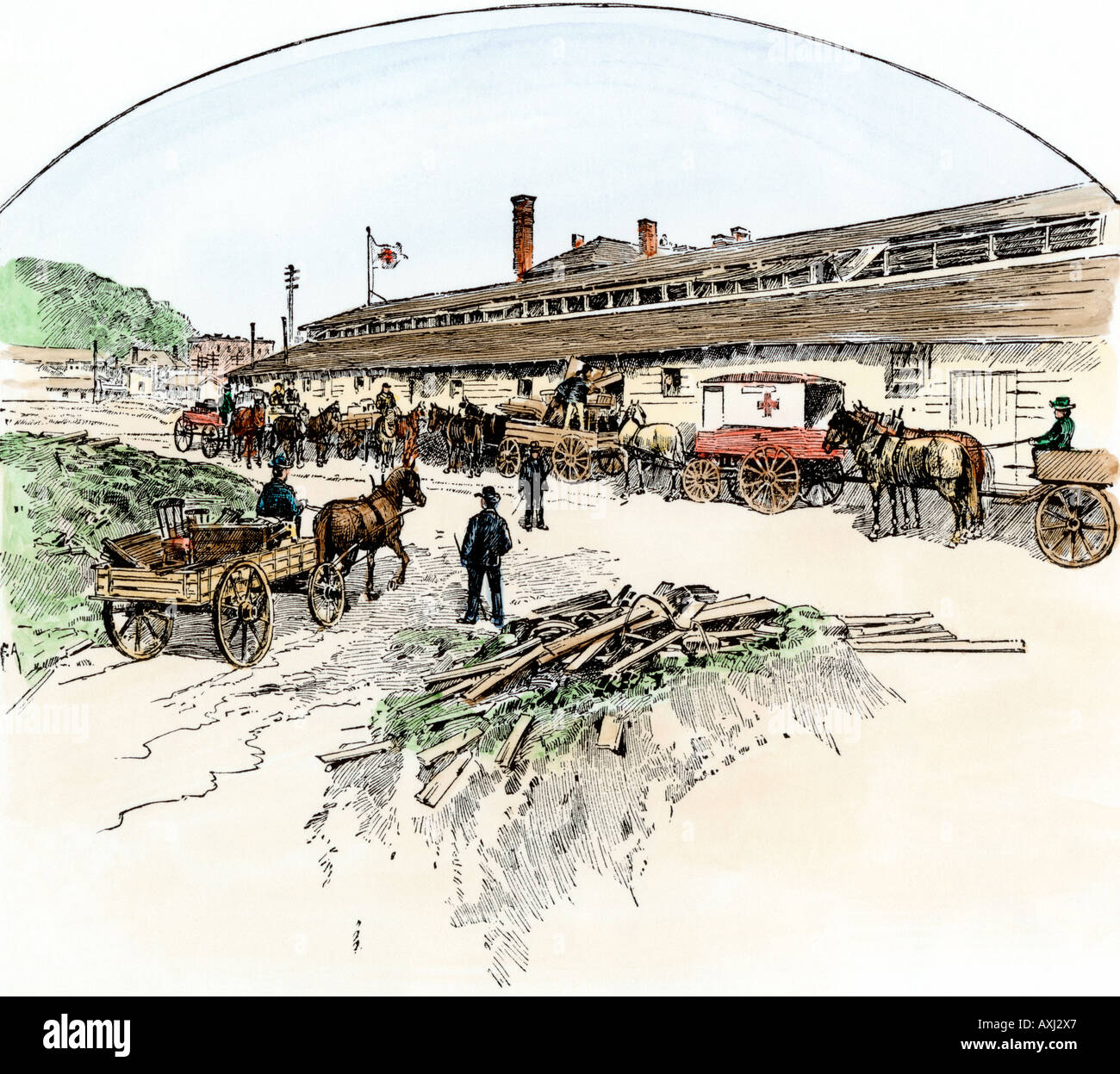 Red Cross warehouse in Johnstown Pennsylvania the first building erected after the great flood in 1889. Hand-colored woodcut - Stock Image