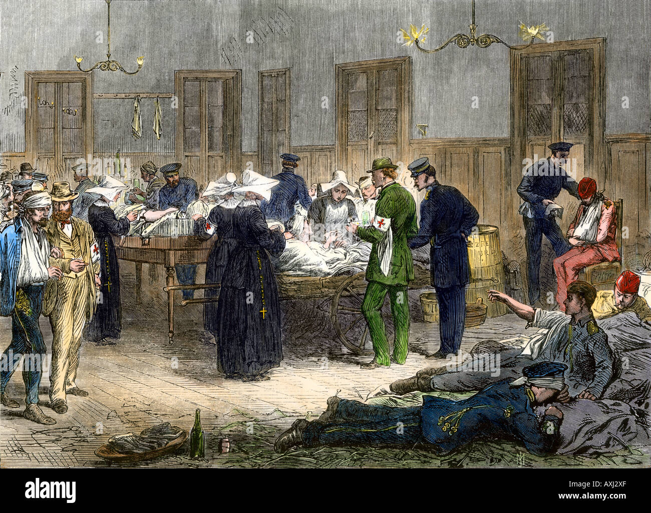 Red Cross field hospital set up in a railway station in Bohemia during wars of Frederick II of Prussia 1866. Hand-colored woodcut - Stock Image