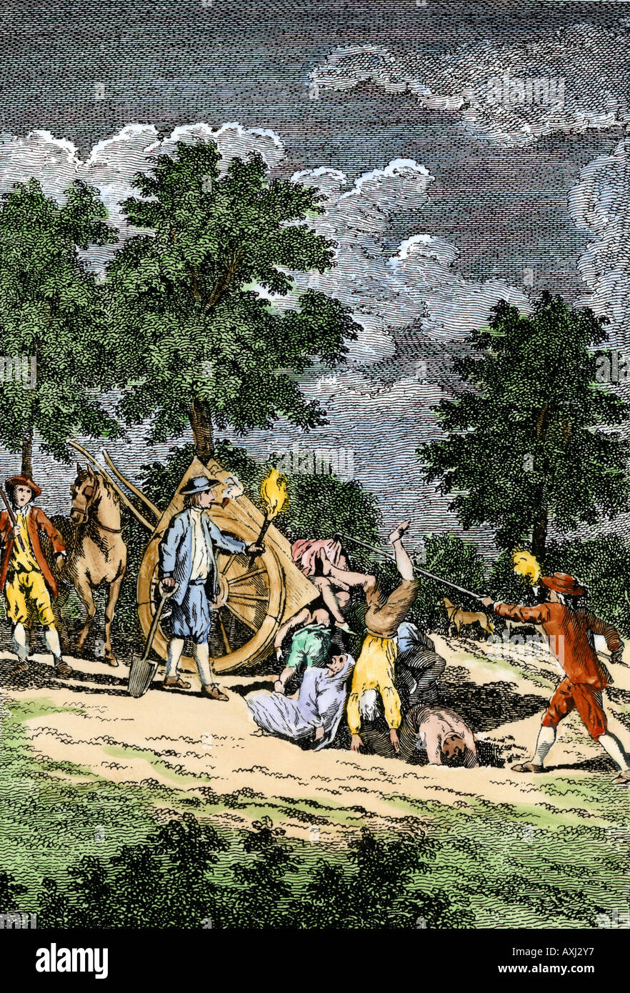 Burying dead bodies at Holywell Mount during the bubonic plague epidemic in England 1665. Hand-colored woodcut Stock Photo