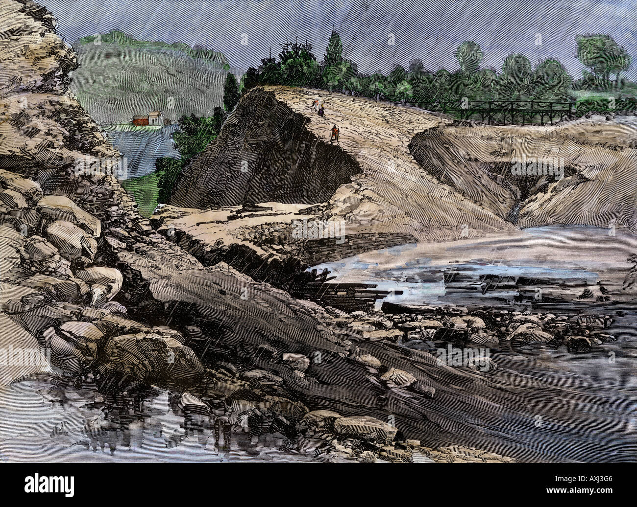 Empty reservoir behind the broken South Fork Dam that caused the Johnstown Flood of 1889. Hand-colored woodcut - Stock Image