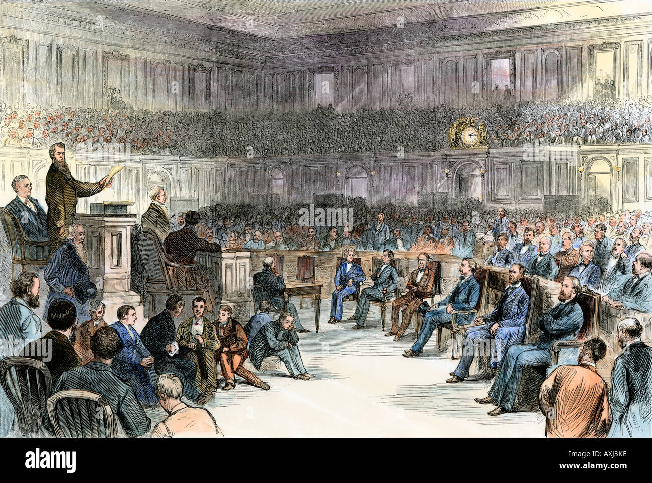 Counting the electoral vote after the contested 1876 Tilden Hayes presidential election February 1877. Hand-colored Stock Photo