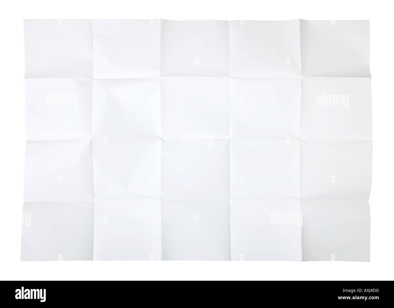 Blank unfolded map isolated on white background insert your own design - Stock Image