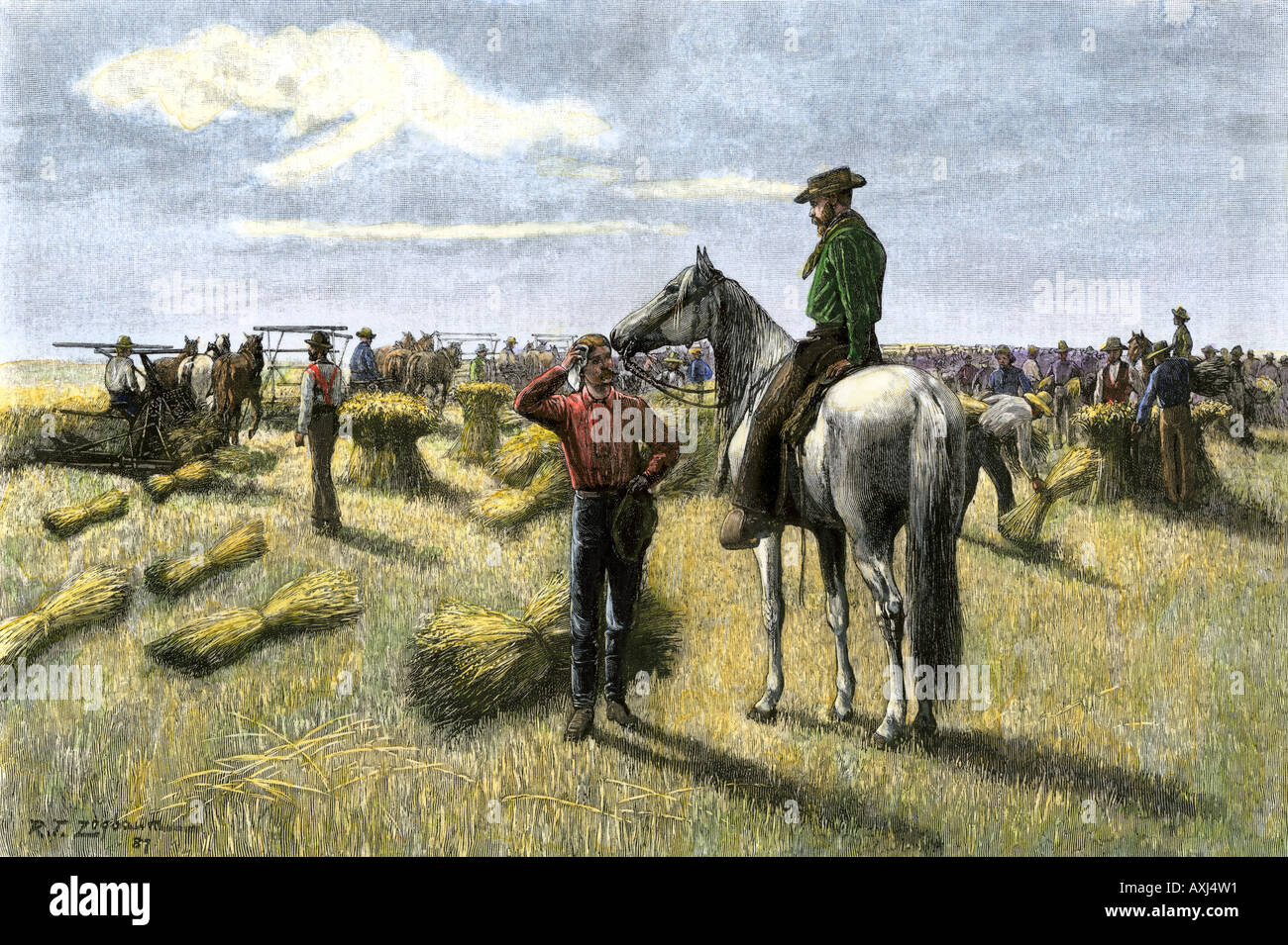 Harvesting wheat on a bonanza farm in Dakota Territory 1880s. Hand-colored woodcut Stock Photo