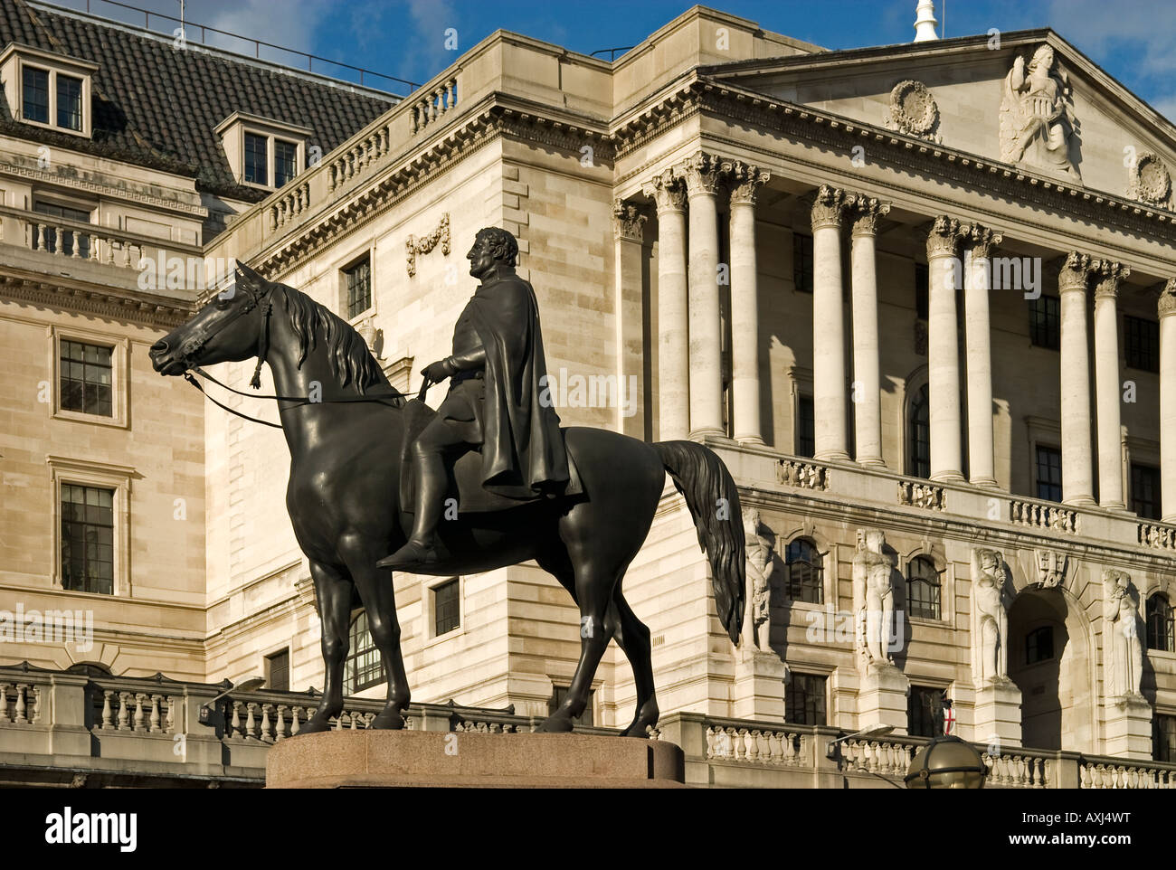 Threadneedle Street, London. Featuring The Bank Of England And Statue Of Wellington On Horsenack - Stock Image