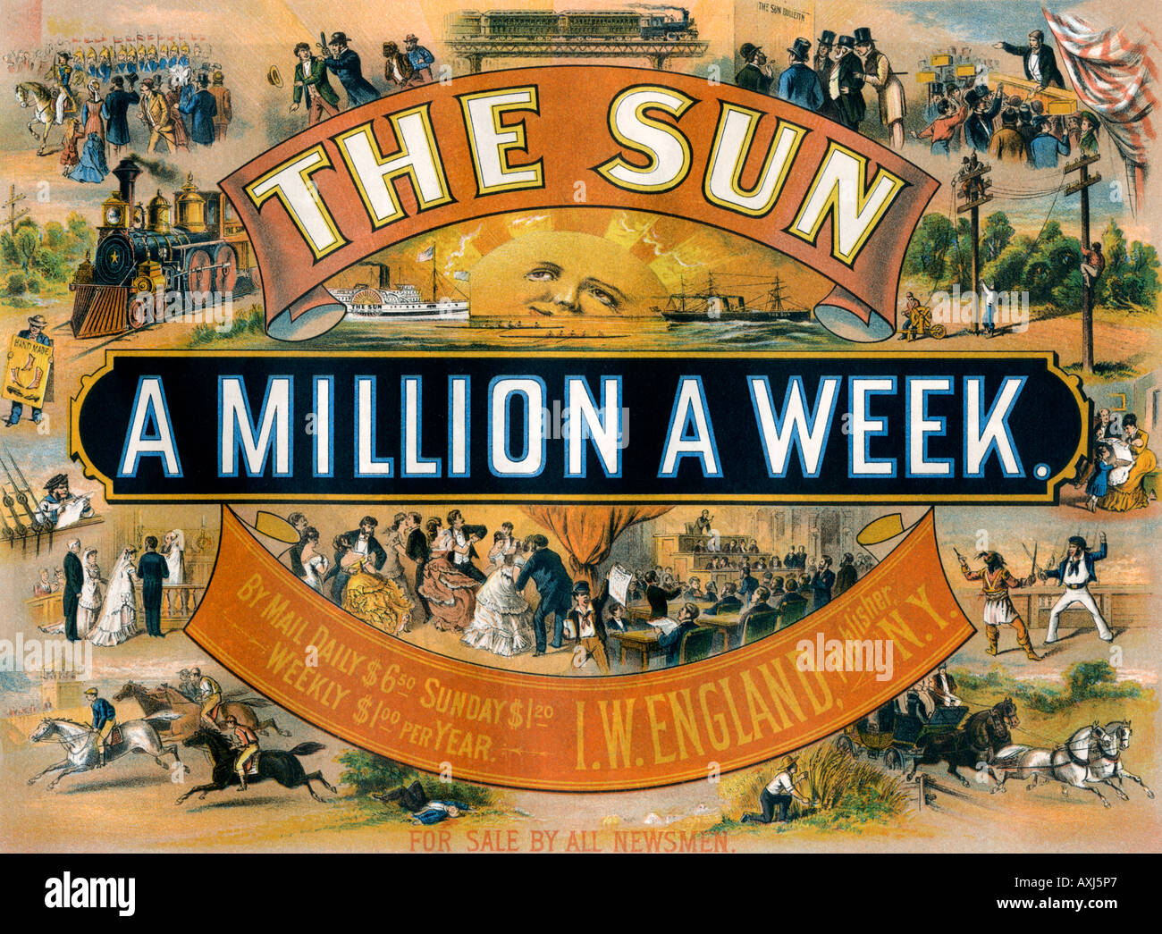 Advertisement for the New York Sun a daily newspaper 1880. Color lithograph - Stock Image