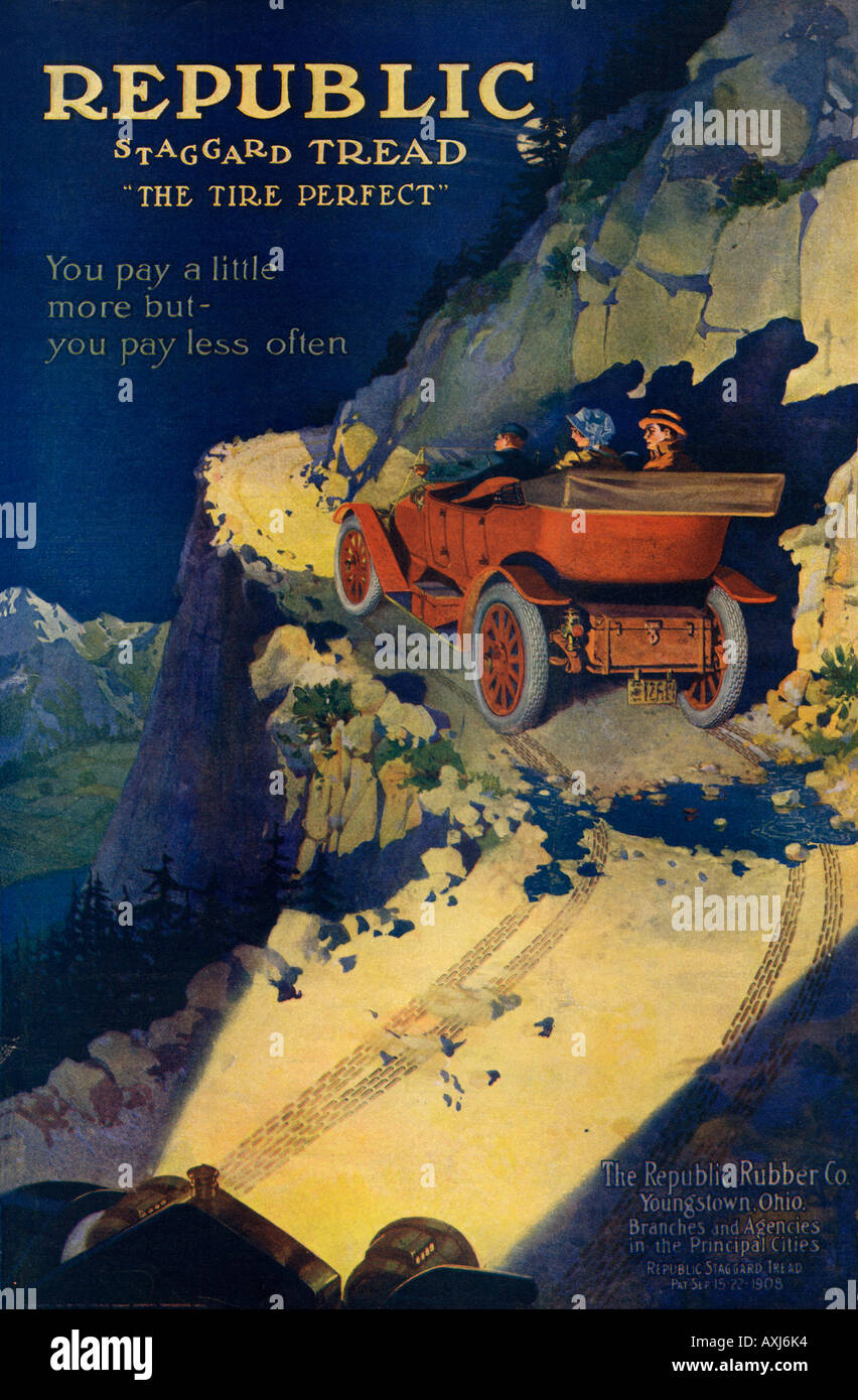 Advertisement for automobile tires made by Republic Rubber Company of Youngstown Ohio 1908. Color lithograph - Stock Image