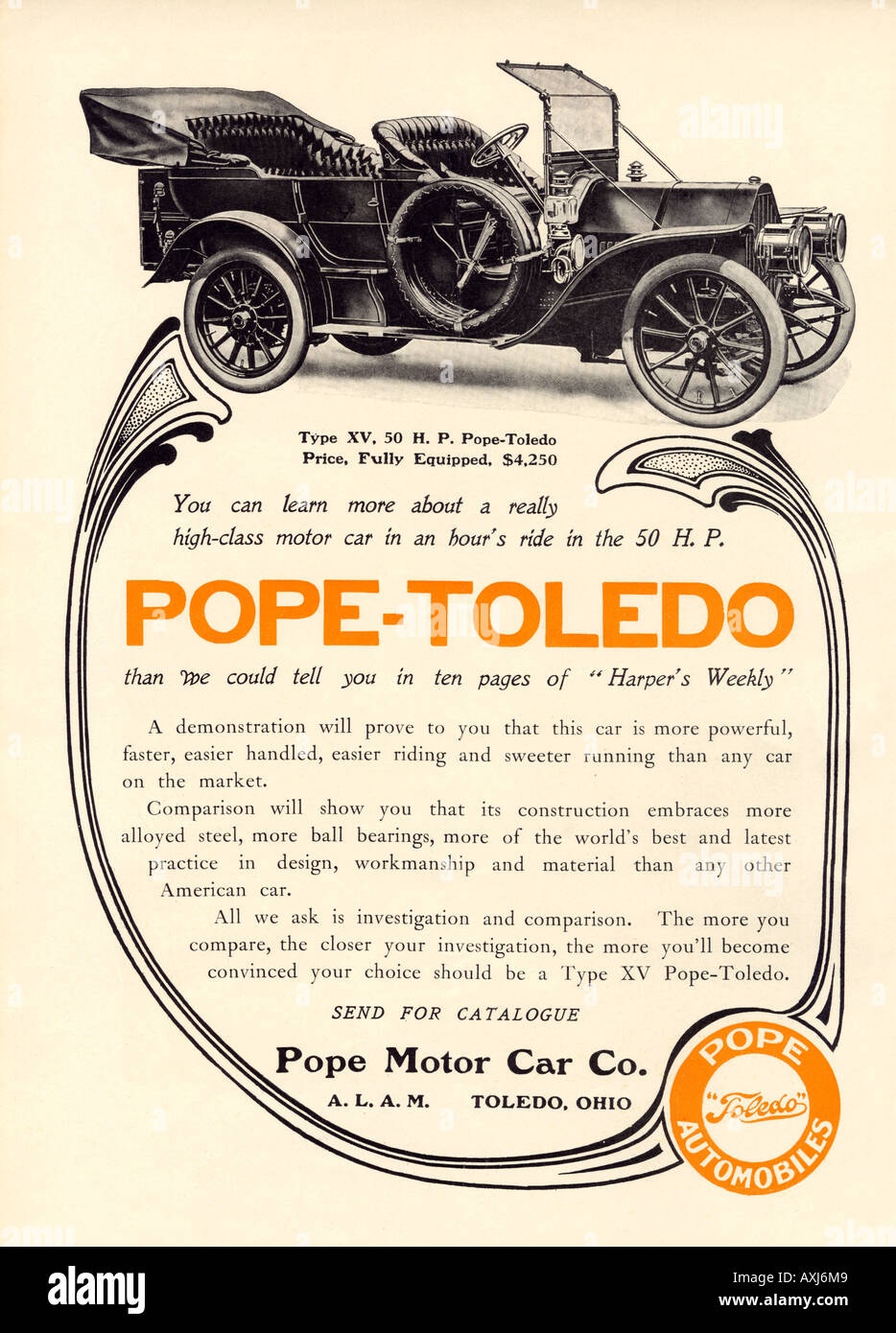 Advertisement for a Pope Toledo automobile made in Ohio 1907. Printed in 2 colors - Stock Image